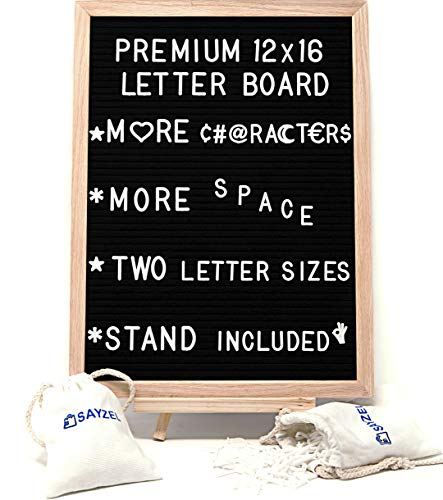 Large Letter Board with Stand - 550 Changeable White Plastic Letters (Big and Small Sizes) - Letter Holder Bags - 12 x 16 Inch Wooden Frame, Black Felt, Wall Mount Hook - Ideal Sign, Bulletin, Marquee