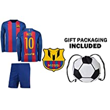 Fan Kitbag Lionel Messi #10 Barcelona Long Sleeve Soccer Jersey & Shorts Kids Youth Sizes ✓ Premium Gift Kit ✓ Soccer Backpack INCLUDED