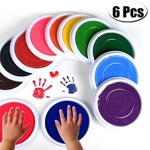 PartyYeah 6-Pcs Multicolors Baby Ink Pad for Baby Footprints Handprints Fingerprints Kit, Perfect Keep Baby Memory Baby Shower Gift - Baby Handprint Ink