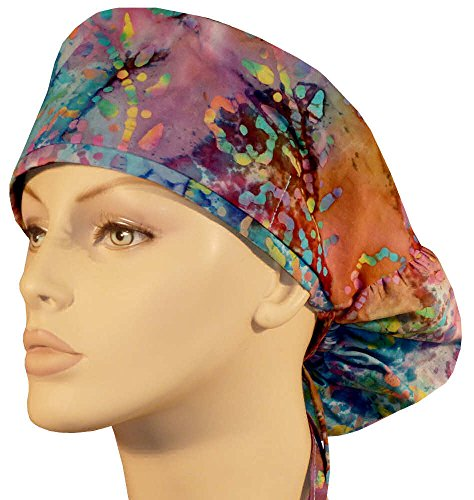 Batik Earth (Big Hair Women's Scrub Cap - Rainbow Batik #219)
