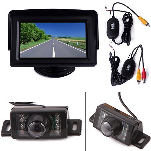 """HDE Wireless Reverse Parking System Blind Spot Cam Kit (Rear View License Plate Backup Camera + 4.3"""" LCD Color Monitor) [並行輸入品] B01MY46PFY"""