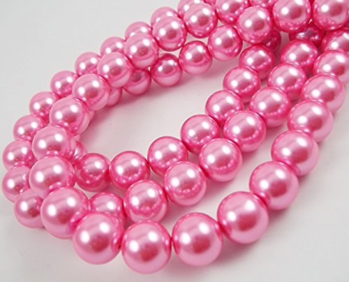 Glass Pearl Finish Round Large Big Beads dark deep Rose Pink for Handmade Jewerly Necklace Bracelet Beading Supplies faux pearls TOP quality C44 (12mm) ()