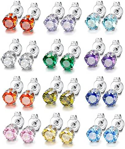 LOYALLOOK 12 Pairs Stainless Steel Round Cubic Zirconia Diamond Birthstone Stud Earrings for Women