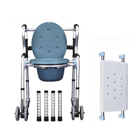 GRHL Walker ancianos silla con orinal orinal plegable ruedas de aluminio discapacitados Lavabo , black