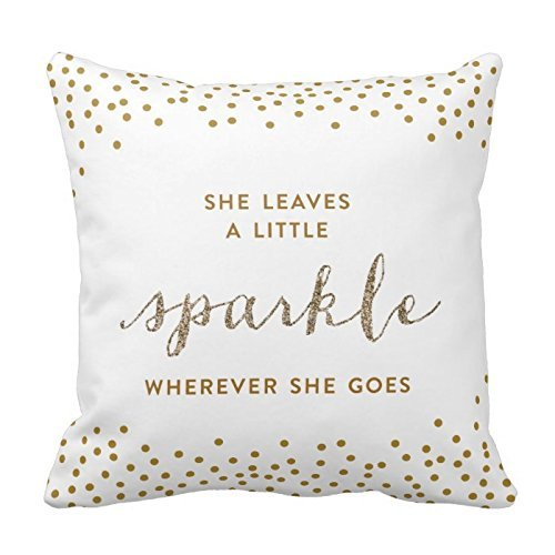 Generic Custom Square She Leaves A Little Sparkle Throw Pillow Cover Cotton Pillowcase Cushion Cover 18 X 18