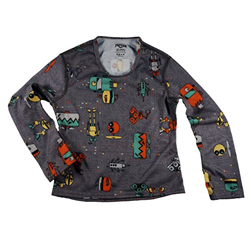 Hot Chillys Pepperskins Base Layer Crewneck Top Youth Bots Print Charcoal (XXS) by Hot Chillys