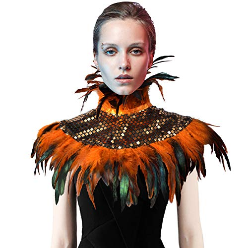 - Natural Feather Sequin Shawl Gothic Black Cape With Choker Collar (Orange)