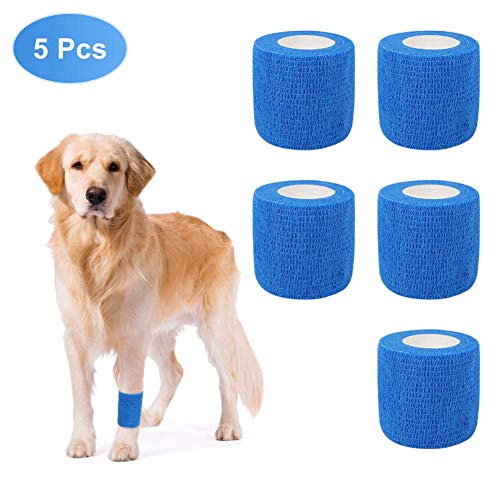 Yosoo Health Gear Vet Wrap, Self Adhering Bandage Wrap Pet Horse Dog Cat Animal Wound Cohesive Bandage Breathable Coban Non Woven Self Adherent Cohesive Tape for Dog Cat Pet Horse