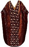 LA LEELA Cotton Batik Long Caftan Swim Dress Ladies Brown_240 OSFM 14-18W [L-2X]