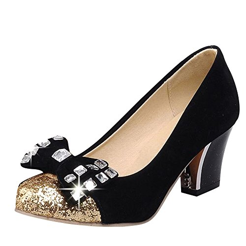 Carol Zapatosfashion Mujeres Brillantes Lentejuelas Rhinestone Bowknots Bling Bling Cuff Grueso Vestido De Tacón Bombas Zapatos Negro