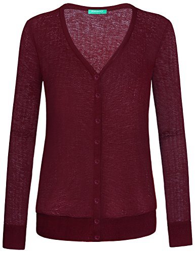 Kimmery Burgundy Cardigan for Women, Stylish Button Down Henley Loose Fitting Shirts V Neck Long Sleeve Fall Outfits for Office Business Casual Fall Season Tops 2018 Wine XX Large ()