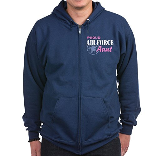 CafePress - Proud Air Force Aunt - Zip Hoodie, Classic Hooded Sweatshirt with Metal Zipper Navy