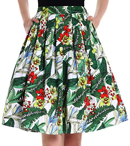 Yige Women's Vintage A-line Printed Pleated Flared Skirts for Women Green Leaf-L