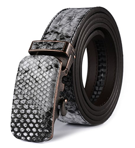 [Snake Skin Print With Automatic buckle] HW Zone Men's Solid Leather Snake Skin-Print Ratchet Leather Belt Wide 1 3/8