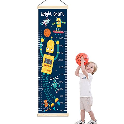 Panda_mall Baby Height Growth Chart Ruler Kids Roll-up Canvas Height Chart Removable Wall Hanging Measurement Chart Wall Decoration with Wood Frame for Boys Girls Kids Room(Robot) by Panda_mall