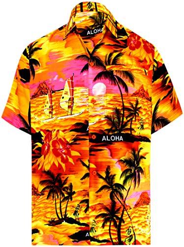 LA LEELA Men's Beach Hawaiian Shirt Button Down Aloha Camp Shirt XXL Orange_W361
