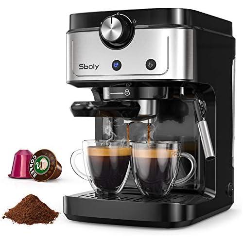 chollos oferta descuentos barato Cafetera Espresso Sboly Cafetera 2 en 1 para Nespresso Compatible con Café Molido y en Cápsulas Máquina de Espresso de 19 Bares con Tanque de Agua Removible y Boquilla de Vapor