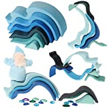 """Grimm's Small WaterWaves Nesting Wooden Blocks Stacker, """"Elements"""" of Nature: WATER"""