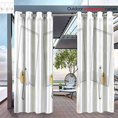 (Patio Curtains Blank Photos with Halloween Pumpkin and Ghost Outdoor Curtain for Patio,Outdoor Patio Curtains W96 x L84/Pair)