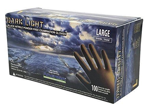 Adenna Dark Light 9 mil Nitrile Powder Free Exam Gloves (Black, Large) Box of 100 - Pack of 2