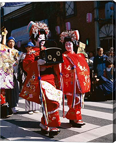 Group of geishas, Kyoto, Honshu, Japan Canvas Art Wall Picture, Gallery Wrap, 22 x 28 inches