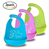Bonim Silicone Baby Bib - Waterproof Adjustable Snaps Soft Rubber Feeding Bibs with Food Catcher for Babies or Toddlers - Easy Roll-Up Wipes Clean and Quick Drying (3Pack)