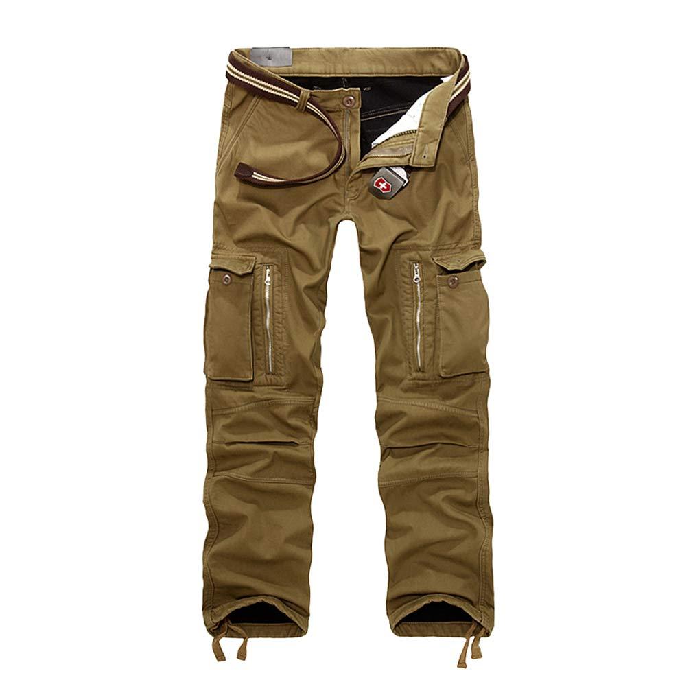 Mxssi Pantaloni in Pile Polare da Uomo Addensare Pantaloni Caldi con Fodera Invernale Pantaloni Cargo da Combattimento Pantaloni Caldi a Vita Normale Abiti da Lavoro