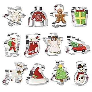 KAISHANE Christmas Cookie Cutter Set - 12 Pcs Stainless Steel Cutters Christmas tree,Santa Claus,Snowman,Reindeer,Gingerbread Man,Snowflake,Angel,Christmas Socks and more for Biscuit, Fondant