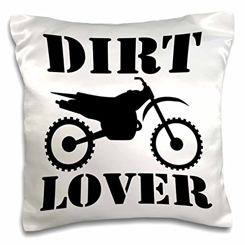 3dRose pc_180550_1 White Image and Dirt Lover Text with Distressed Dirt Bike Graphics Pillow Case, 16
