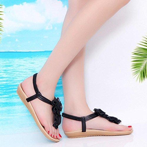 Sommer Sandaler Roman Amlaiworld Svart Sko Blomst Slippers Casual Flat Kvinners Damer Sandaler qw6Af