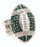 Philadelphia Fan Jewelry Women's Girl's Green Rhinestone Football Stretch Fit Bling Ring Fashion