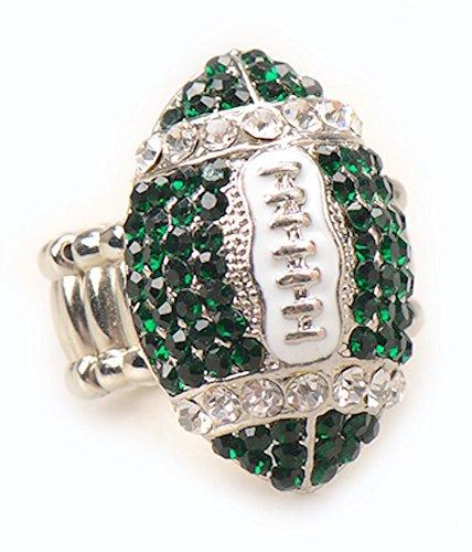 Die Hard Fan Costume (New York Fan Jewelry Green Rhinestone Football Women's Girl's Stretch Fit Fashion Bling Ring)