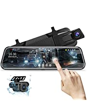 10'' Mirror Dash Cam 1080P Night Vision Full Touch Screen Front and Rear View Mirror Backup Camera Waterproof Dashcams for Cars Loop Recording Streaming Media Parking Assistance with 10 Meters Cable