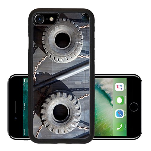 Luxlady Premium Apple iPhone 7 Aluminum Backplate Bumper Snap Case iPhone7 IMAGE ID: 20440836 old tires for protection of ship in the harbour