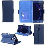 Huawei Honor 8 / Honor 8 Premium 5.2 zoll Hülle Brieftasche Leder blau Cover mit Kartenfach - Zubehör Etui Portfolio smartphone Honor8 Case Schutzhülle (Handy Wallet tasche folio PU Leder, blue) - XEPTIO accessoires