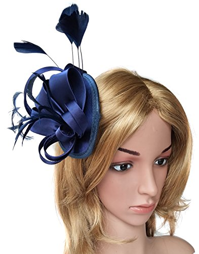 Fascinator Hats for Women Feather Cocktail Party Hats Bridal Kentucky Derby Headband (Satin Navy Blue)