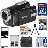 Vivitar DVR-508 HD Digital Video Camera Camcorder (Black) 32GB Card + Case + LED Video Light + Tripod + Kit
