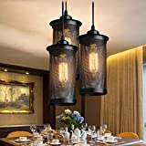 Creative Restaurant Personality Chandelier Industrial Wind Retro Iron Chandelier Hotel Restaurant Bar Countertop Lamps Black Cylindrical Net Chandelier ( Size : 3 head )