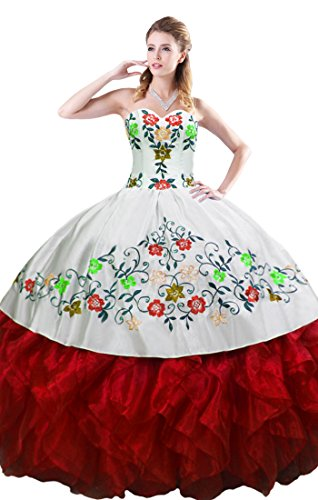 MagicMiss Red Puffy Ruffled Ball Gown Quinceanera Dress with Embroidery Size 2