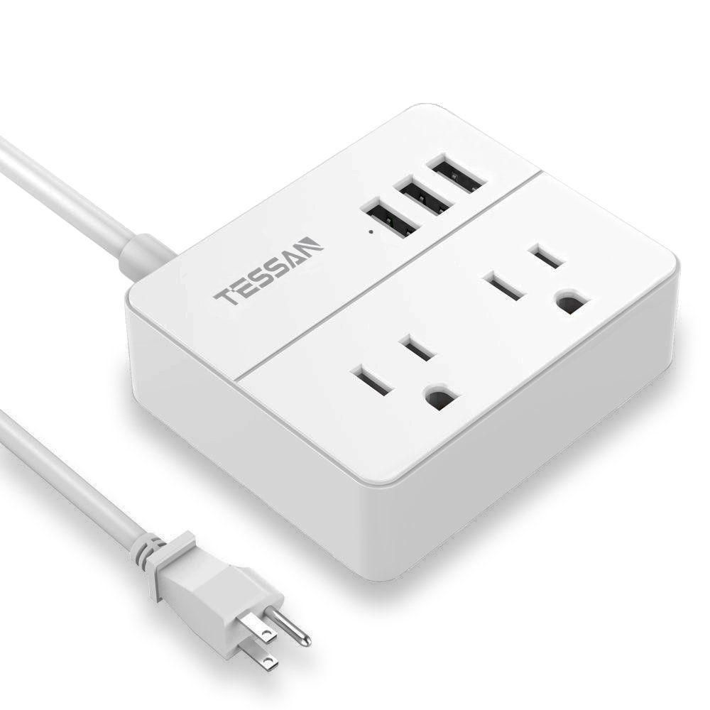 TESSAN Portable 2 Outlet Travel Power Strip with 3 USB Ports Charging Station 5 Ft Cord-White