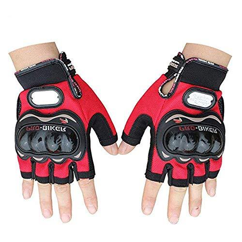 JSP Pro-Biker Motorbike Protector Gloves- Half Finger Carbon Fiber Cycling Powersports Racing Gloves