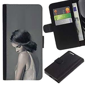 TaiTech / - Mujer Señora triste Femenino Gris Profundo - Apple Iphone 6 PLUS 5.5