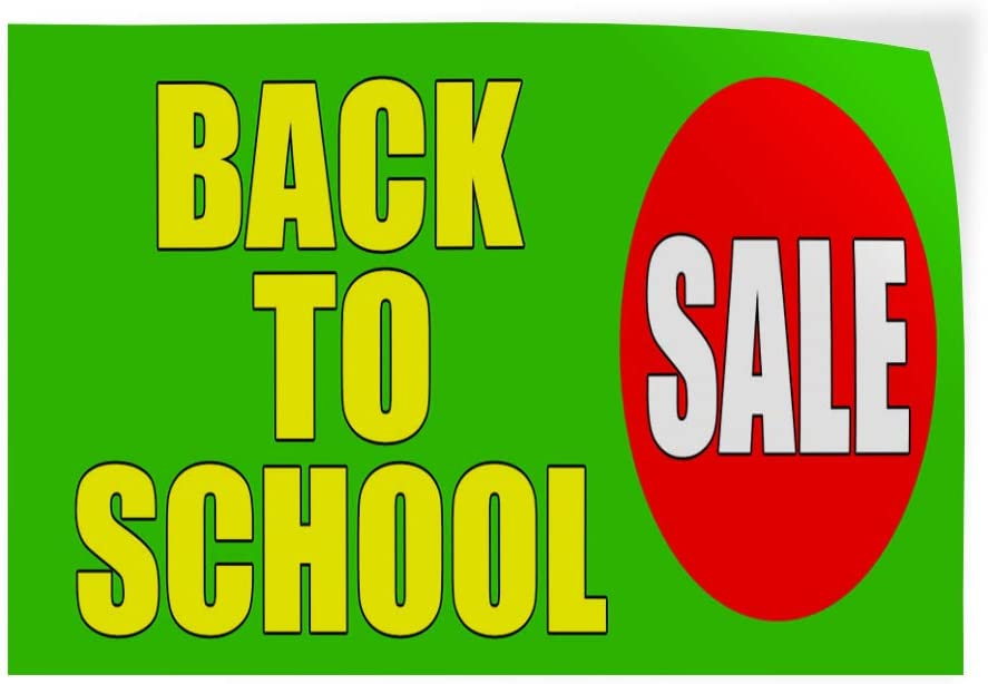 Set of 5 27inx18in Decal Sticker Multiple Sizes Back to School Sale Business Back to School Sale Outdoor Store Sign Yellow