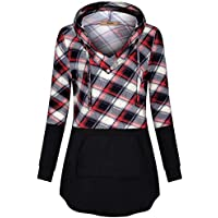 Miusey Women's Long Sleeve V Neck Pleated Pullover Sweatshirts Tunic Hoodies