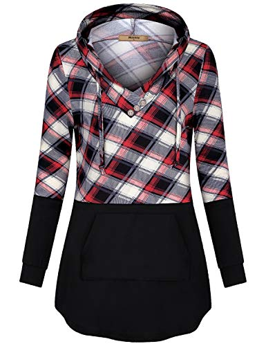 - Miusey Vintage Clothes,Womens Checked Print Drawstring Hoodies Cute Kangaroo Pocket Girls Retro Plaid Sweatshirt Soft Cozy Fall Long Sleeve Pullover with Elasticity Black L