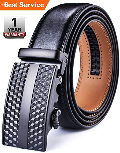DCFlat Adjustable Automsatic Buckle Ratchet Genuine Leather Belts for Men (Up to 43 Waist, Black 1)