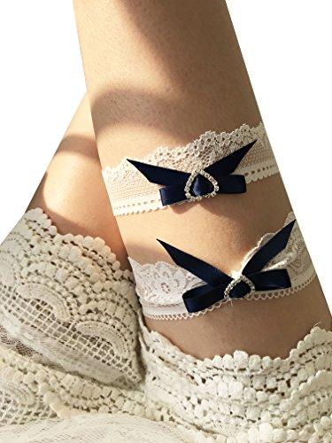 YuRong Bridal Lace Garter Set Rhinestone Wedding Bow Garter Set G38 (Navy) ()