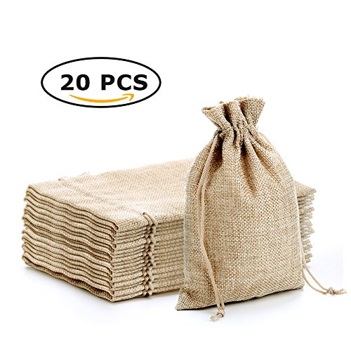CARANFIER Burlap Bags with Jute Drawstring for Holiday Party Birthday Wedding Gift Jewelry Treat DIY Craft Favor Bags Sack Pouch, Lot of 20 (7 * 5.2, Rustic Brown)