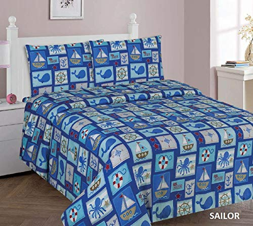 Sapphire Home 4 Piece Kids Boys Full Sheet Set w/Fitted, Flat & 2 Pillow Cases, Fun Print, Sailor Boat Sea Animals Whales Shark Print, Blue Color, Sailor Full Sheet