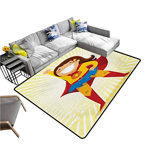 Anti-Fatigue Comfort Mat Superhero,Courageous Little Girl with a Big Smile in Costume Standing in a Heroic Position,Multicolor 48